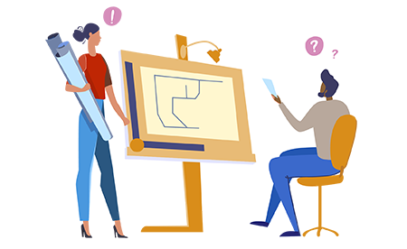 A drawing of two people discussing a plan on a drawing board