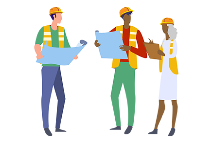 A drawing of three people wearing safety gear consulting blueprints